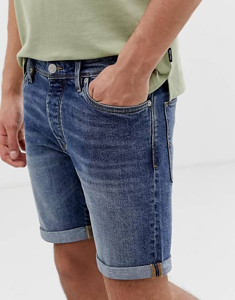 Selected Homme - Smal denim short in middelblauw