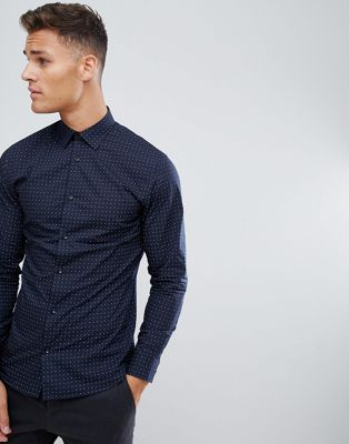 Selected Homme Smart Shirt In Slim Fit All Over Dot Print