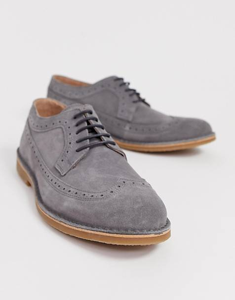 Selected homme - Suède brogueschoenen in grijs