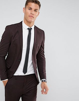 Image 1 of Selected Homme Super Skinny Suit Jacket In Burgundy Check