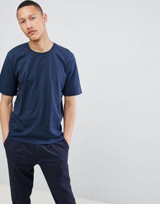 Selected Homme – T-Shirt mit tief geschnittener Schulter aus schwerer Baumwolle
