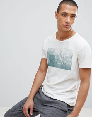 Selected Homme T-Shirt With Raw Hem And Washed Graphic