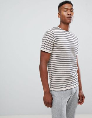 Selected Homme T-Shirt With Textured Stripe