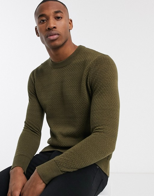 Selected Homme Textured Lightweight Knitted Sweater In Brown by Selected Homme