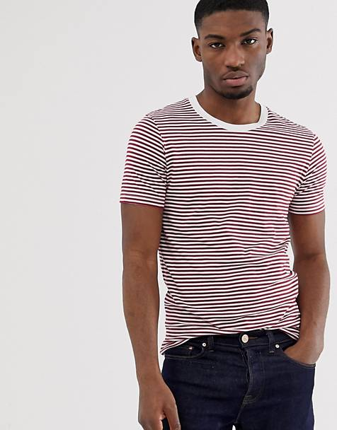 Selected Homme - 'The Perfect Tee' - Gestreept T-shirt van pimakatoen in rood