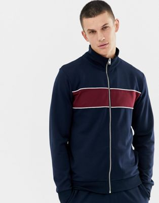 Selected Homme tracksuit jacket with block stripe