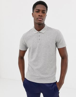 Selected Homme waffle polo shirt in gray