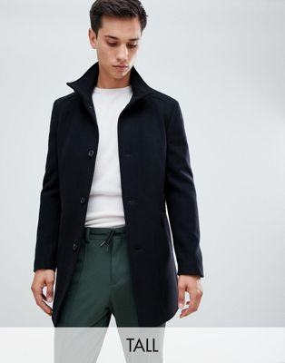 Selected Homme wool overcoat with funnel neck