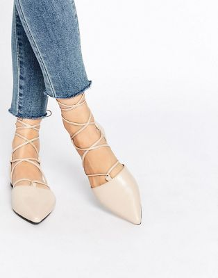 Senso Gordon Nude Leather Ghillie Pointed Toe Shoes