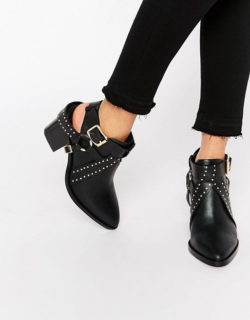 Image 1 of Senso Owen I Black Leather Cut Out Western Heeled Ankle Boots