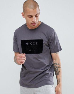 Серая футболка с велюровым логотипом Nicce