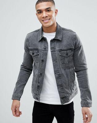 Серая узкая джинсовая куртка ASOS