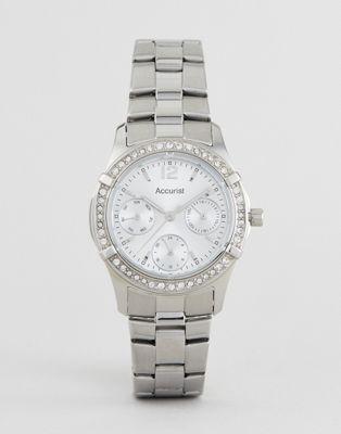 Серебристые часы-браслет с хронографом Accurist 8201