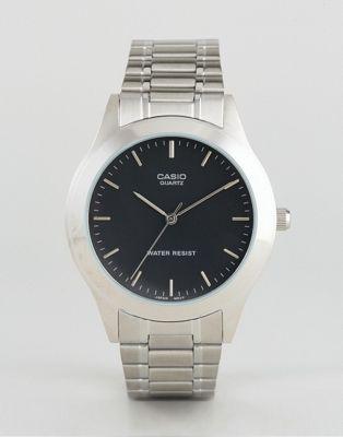 Серебристые часы с ремешком из нержавеющей стали Casio MTP1128A-1A