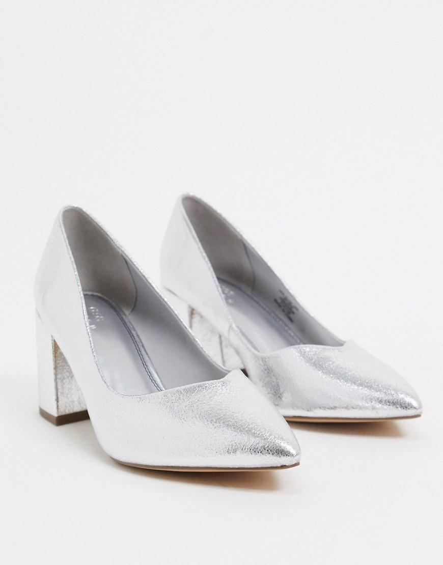 Серебристые туфли-лодочки на каблуке ASOS DESIGN-Серебряный