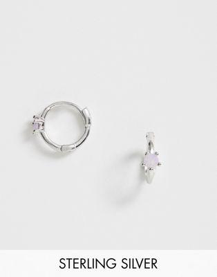Изображение 1 из Серебряные серьги-кольца в стиле хагги с опалом Astrid & Miyu