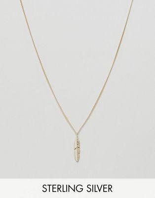 Serge DeNimes – Ethereal – 14-karätig vergoldete Halskette aus massivem Silber mit Federanhänger