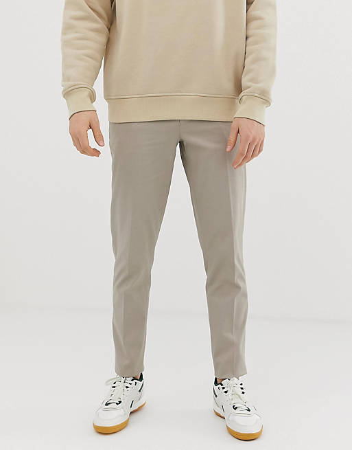Серо-бежевые облегающие строгие брюки из хлопка ASOS DESIGN
