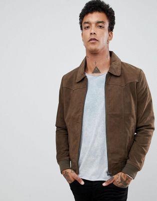 Серо-коричневая замшевая куртка Goosecraft