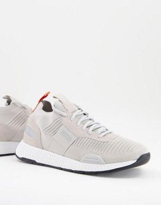 BOSS Titanium Runn lightweight trainers in grey - ASOS Price Checker