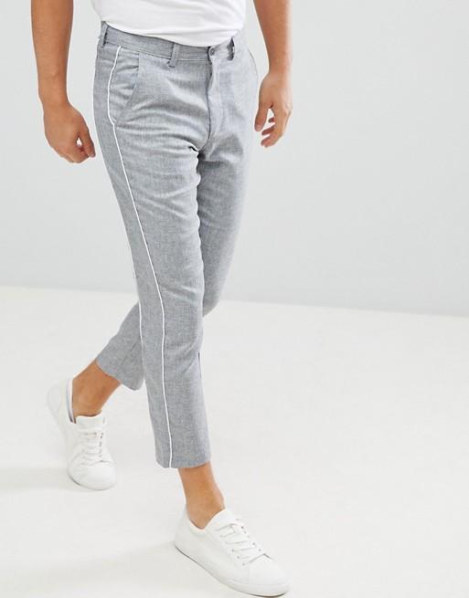 Серые суженные книзу брюки с окантовкой boohooMAN