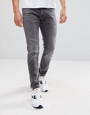 Серые узкие джинсы с эффектом кислотной стирки Replay Anbass