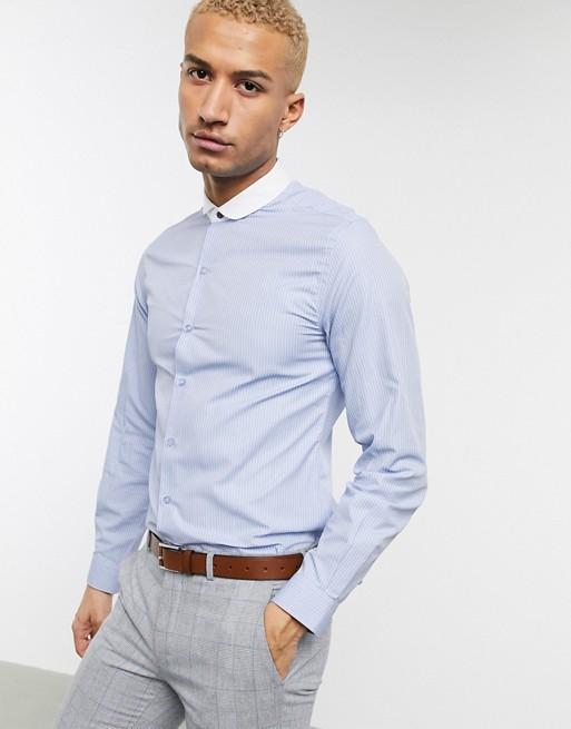 Shelby & Sons - Camicia slim con colletto club a contrasto blu a righe 4z5ipR
