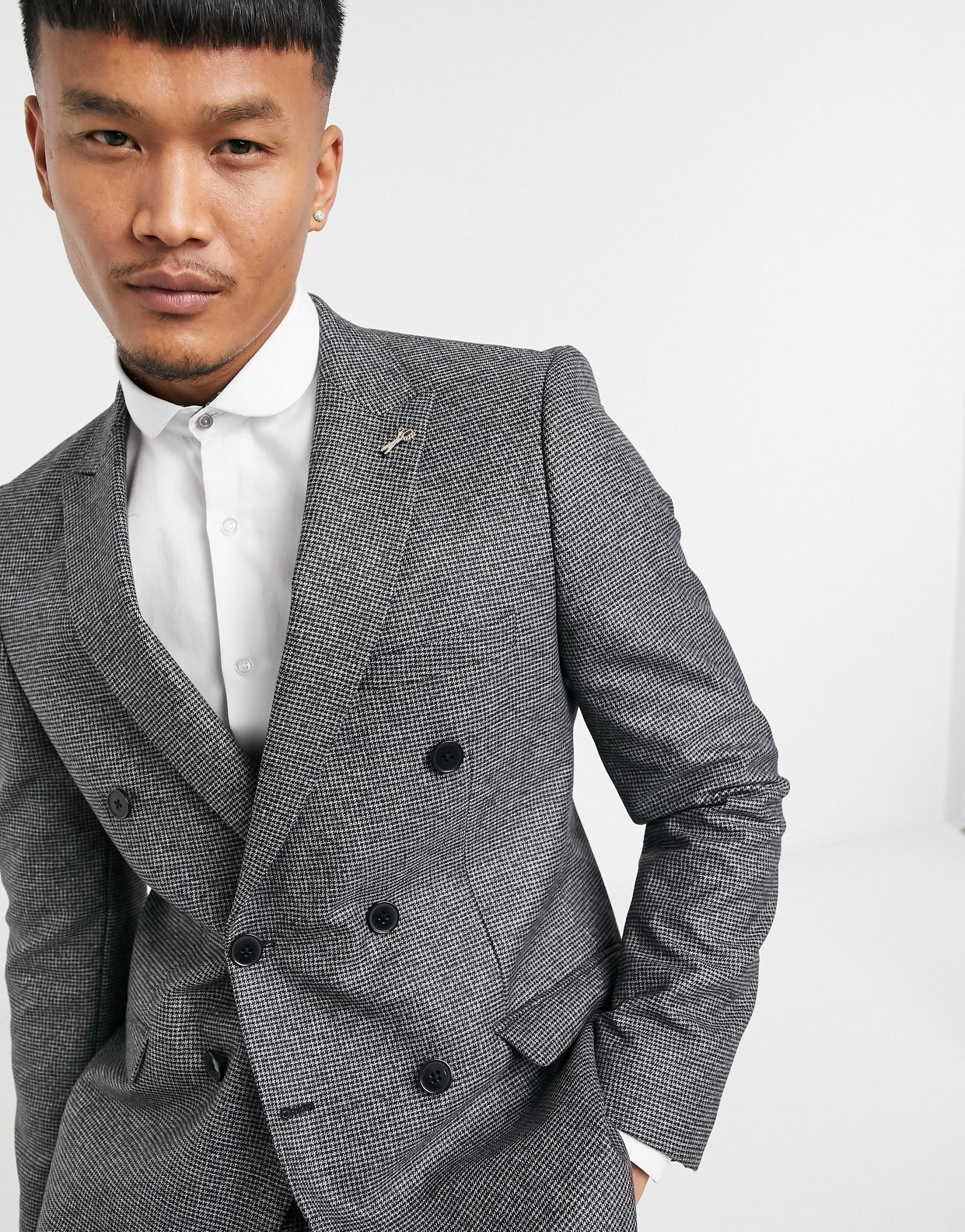 Shelby & Sons slim fit suit jacket in brushed charcoal -  Price Checker