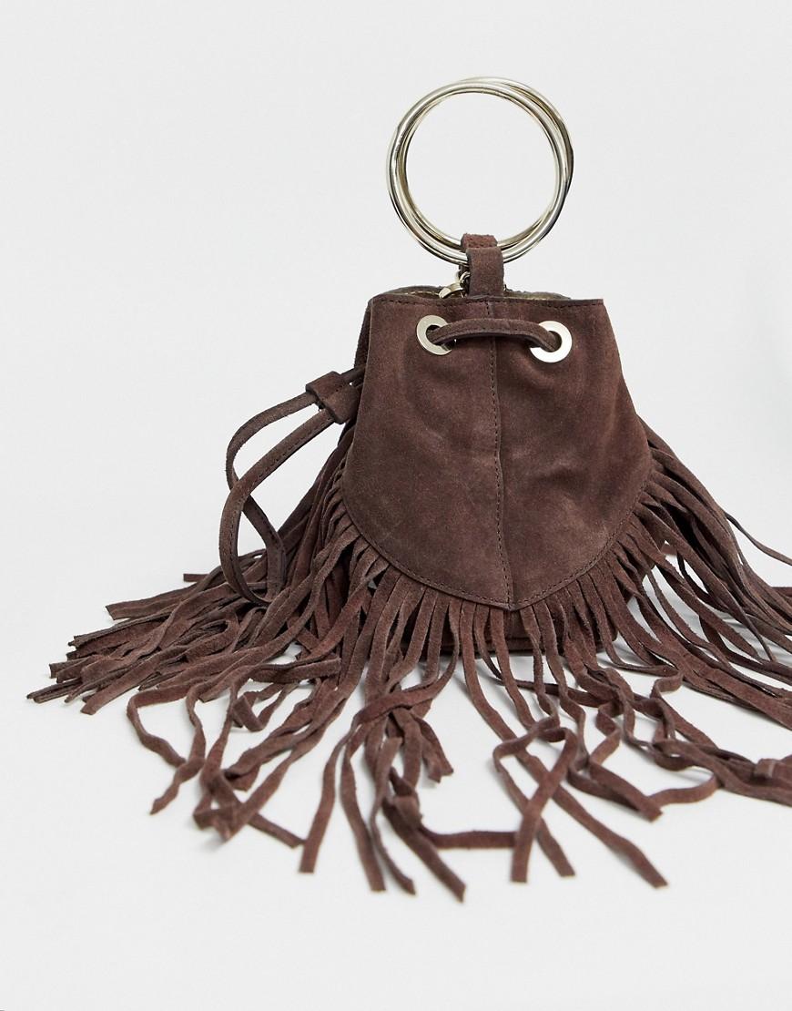 Шоколадно-коричневая кожаная сумка с бахромой River Island-Коричневый