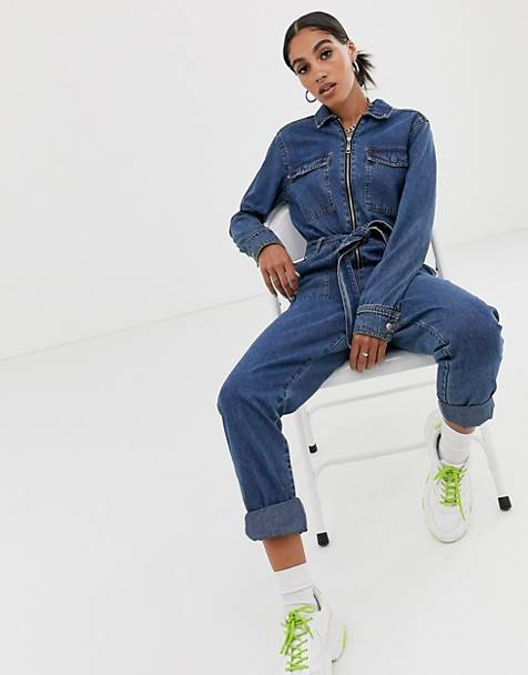 Signature 8 belted denim boiler suit