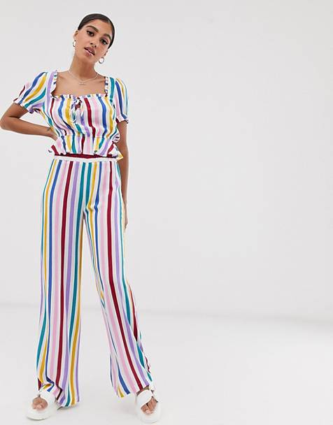 Signature 8 candy stripe wide leg pants