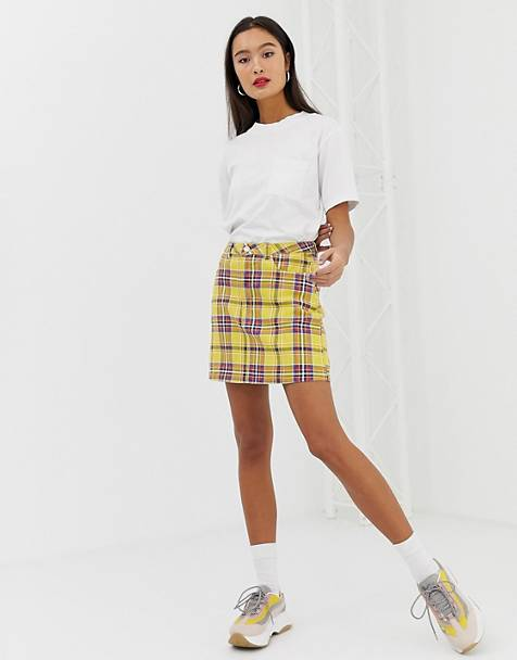 Signature 8 check denim mini skirt
