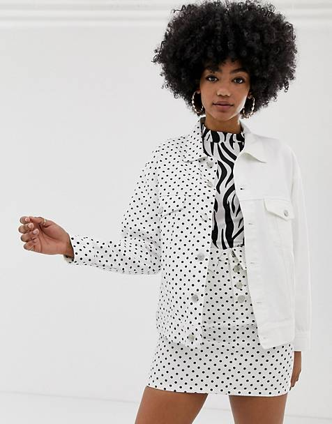 Signature 8 oversized polka dot denim jacket