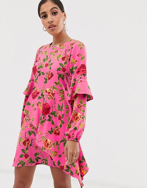 Signature 8 rose print long sleeve mini dress