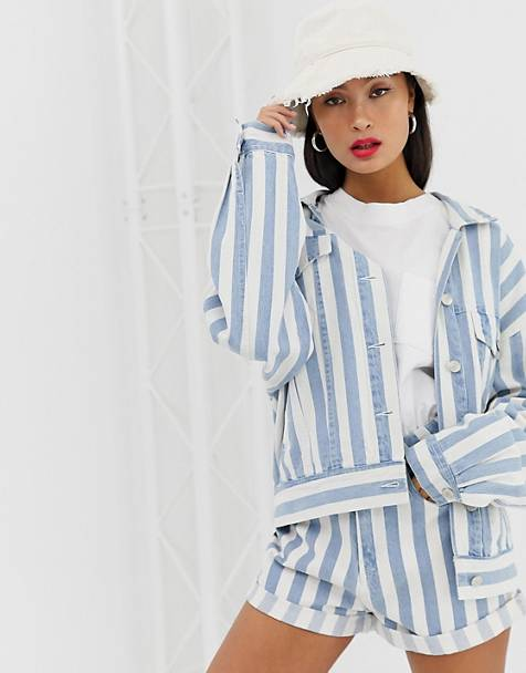 Signature 8 striped oversized denim jacket