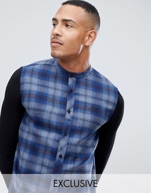 Afbeelding 1 van SikSilk - Geruit overhemd zonder kraag met jersey mouwen in blauw, exclusief bij ASOS