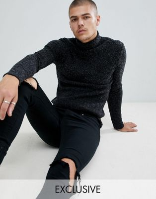 Image 1 of SikSilk knitted roll neck sweater in black exclusive to ASOS