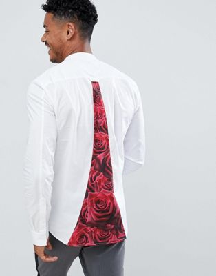SikSilk long sleeve shirt in white with rose panel