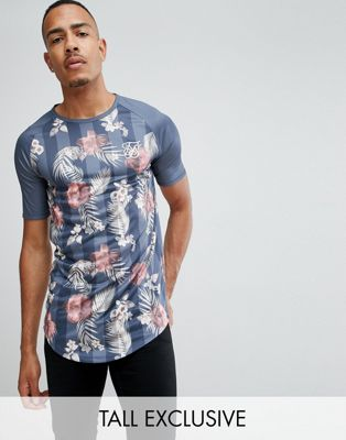 SikSilk muscle fit t-shirt in floral print