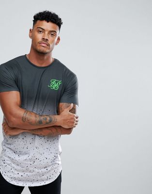Image 1 of SikSilk Muscle T-Shirt In Black With Speckle Fade