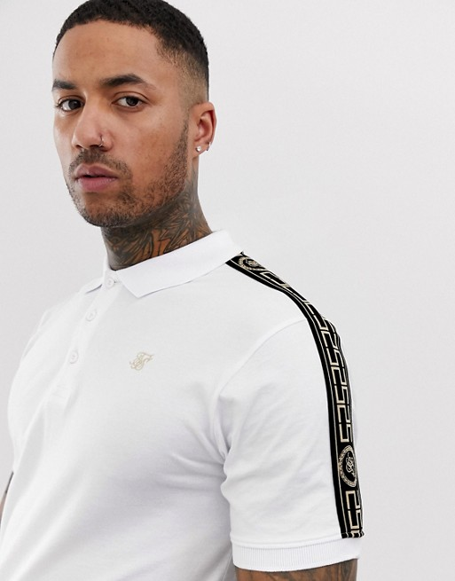 SikSilk polo shirt in white with gold side stripe