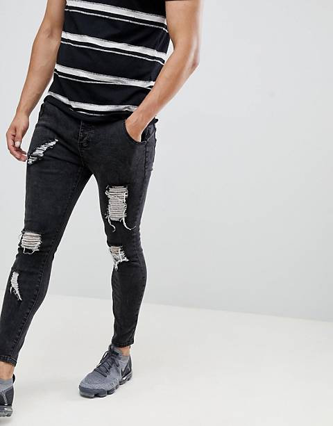 SikSilk skinny fit distressed jeans in black