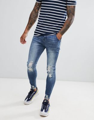 SikSilk skinny fit jagged hem jeans in washed blue