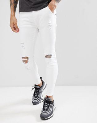 SikSilk - Skinny-fit jeans in wit met slijtage-effect