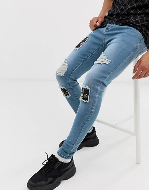 SikSilk super skinny jeans with baroque rips in light wash