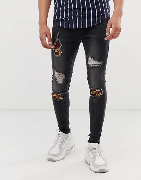 SikSilk super skinny jeans with baroque rips in washed black