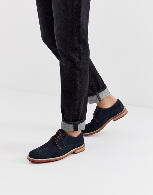 Siliver Street suede derby lace up shoe in navy