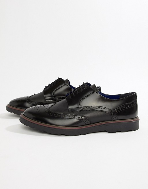 Silver Street Brogue Lace Up Shoe in Black