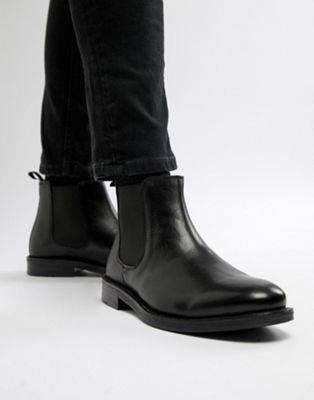 Silver Street Chelsea Boots In Black Leather