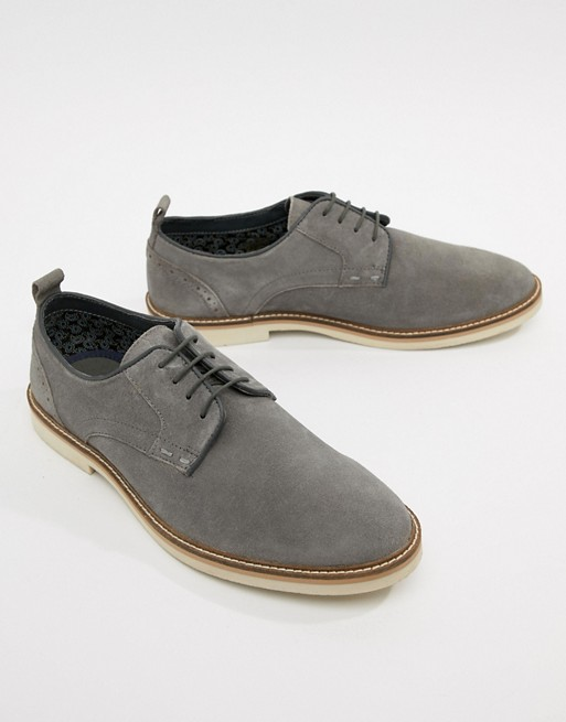 Silver Street Derby Shoes In Gray Suede